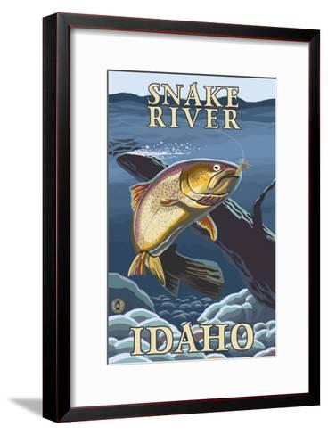 Trout Fishing Cross-Section, Snake River, Idaho-Lantern Press-Framed Art Print
