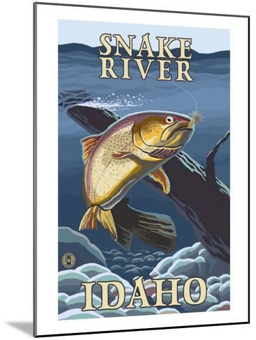 Trout Fishing Cross-Section, Snake River, Idaho-Lantern Press-Mounted Art Print