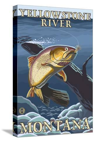 Trout Fishing Cross-Section, Yellowstone River, Montana-Lantern Press-Stretched Canvas Print