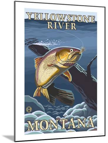 Trout Fishing Cross-Section, Yellowstone River, Montana-Lantern Press-Mounted Art Print
