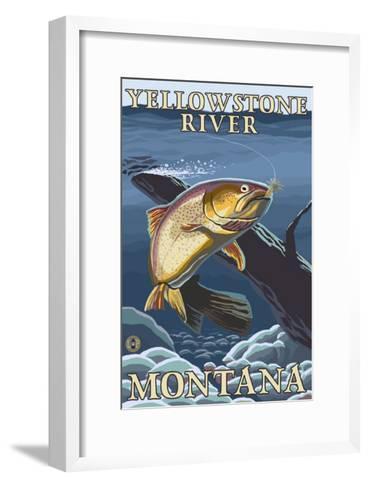 Trout Fishing Cross-Section, Yellowstone River, Montana-Lantern Press-Framed Art Print