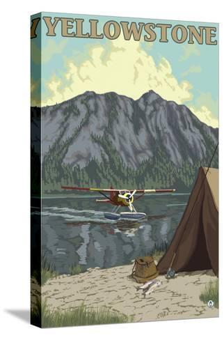 Bush Plane & Fishing, Yellowstone National Park-Lantern Press-Stretched Canvas Print
