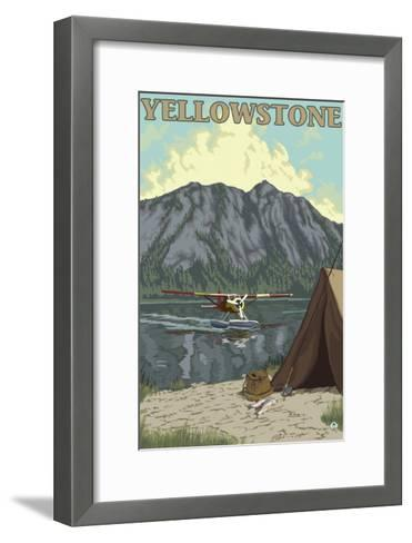 Bush Plane & Fishing, Yellowstone National Park-Lantern Press-Framed Art Print