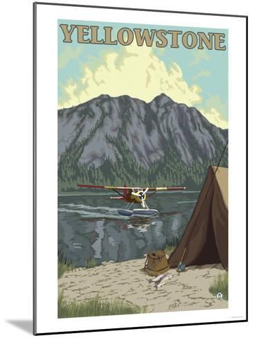 Bush Plane & Fishing, Yellowstone National Park-Lantern Press-Mounted Art Print