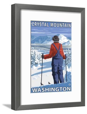 Skier Admiring, Crystal Mountain, Washington-Lantern Press-Framed Art Print