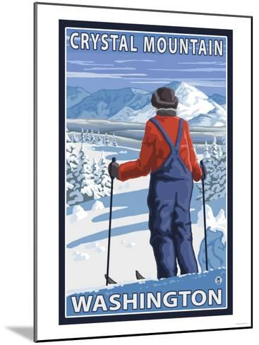 Skier Admiring, Crystal Mountain, Washington-Lantern Press-Mounted Art Print
