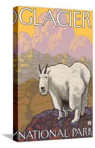 Mountain Goat, Glacier National Park, Montana-Lantern Press-Stretched Canvas Print