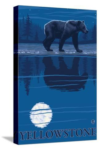 Bear in Moonlight, Yellowstone National Park-Lantern Press-Stretched Canvas Print