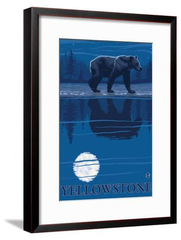 Bear in Moonlight, Yellowstone National Park-Lantern Press-Framed Art Print