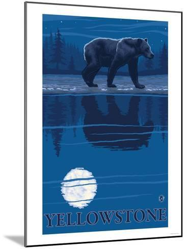 Bear in Moonlight, Yellowstone National Park-Lantern Press-Mounted Art Print