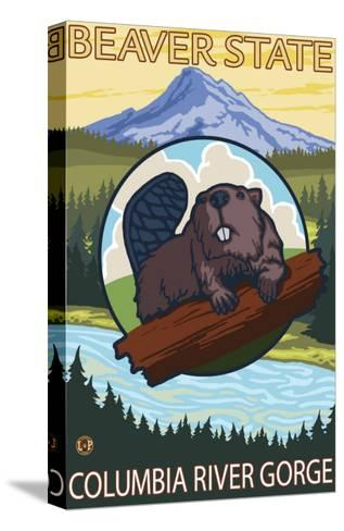 Beaver & Mt. Hood, Columbia River Gorge, OR-Lantern Press-Stretched Canvas Print