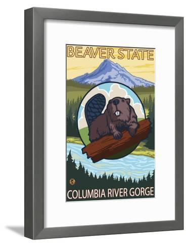 Beaver & Mt. Hood, Columbia River Gorge, OR-Lantern Press-Framed Art Print