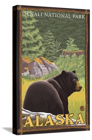 Black Bear in Forest, Denali National Park, Alaska-Lantern Press-Stretched Canvas Print