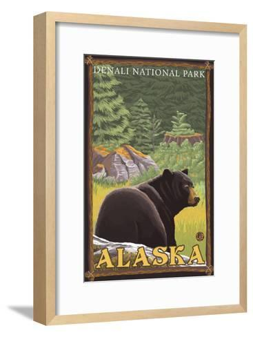 Black Bear in Forest, Denali National Park, Alaska-Lantern Press-Framed Art Print