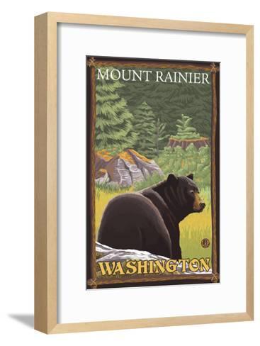 Black Bear in Forest, Mount Rainier, Washington-Lantern Press-Framed Art Print