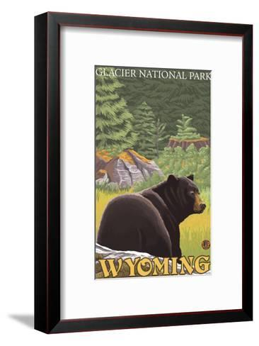 Black Bear in Forest, Yellowstone National Park-Lantern Press-Framed Art Print
