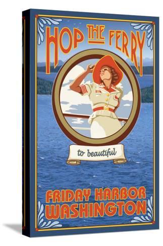 Woman Riding Ferry, Friday Harbor, Washington-Lantern Press-Stretched Canvas Print