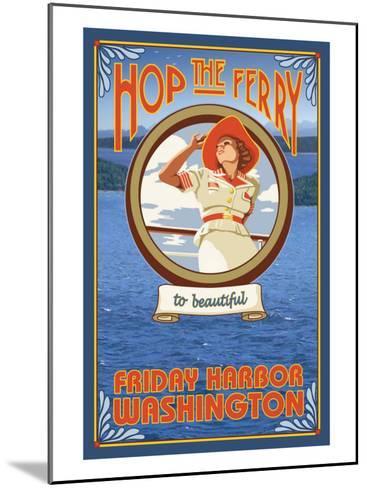 Woman Riding Ferry, Friday Harbor, Washington-Lantern Press-Mounted Art Print