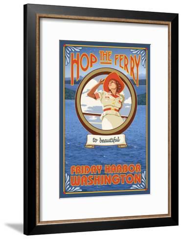 Woman Riding Ferry, Friday Harbor, Washington-Lantern Press-Framed Art Print