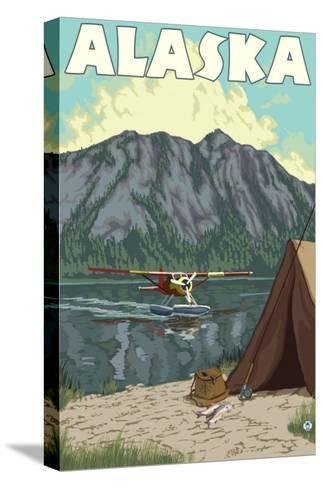Bush Plane and Fishing, Alaska-Lantern Press-Stretched Canvas Print