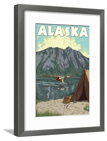 Bush Plane and Fishing, Alaska-Lantern Press-Framed Art Print