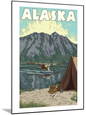 Bush Plane and Fishing, Alaska-Lantern Press-Mounted Art Print