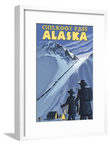 Chilkoot Pass, Alaska Gold Miners-Lantern Press-Framed Art Print