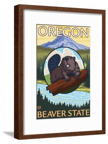 Beaver and Mount Hood Scene-Lantern Press-Framed Art Print