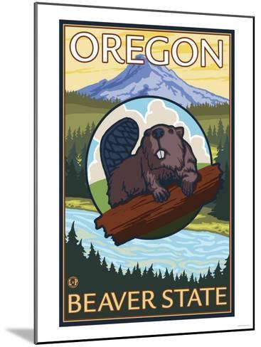 Beaver and Mount Hood Scene-Lantern Press-Mounted Art Print