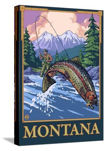 Fly Fishing Scene, Montana-Lantern Press-Stretched Canvas Print