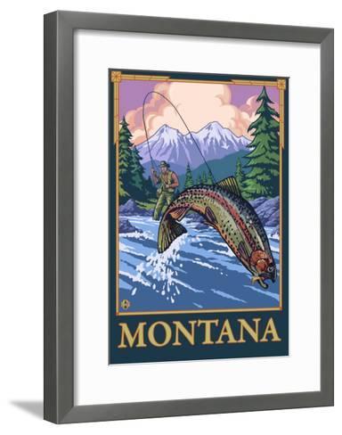 Fly Fishing Scene, Montana-Lantern Press-Framed Art Print