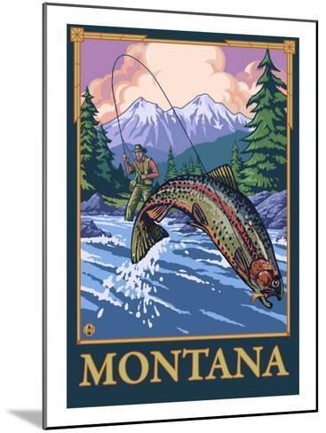 Fly Fishing Scene, Montana-Lantern Press-Mounted Art Print