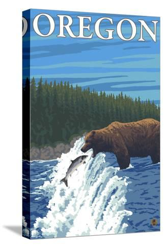 Bear Fishing in River, Oregon-Lantern Press-Stretched Canvas Print