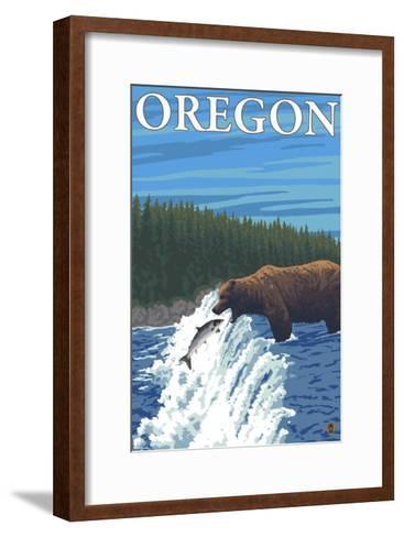 Bear Fishing in River, Oregon-Lantern Press-Framed Art Print