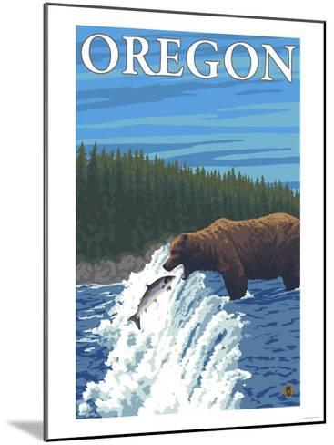 Bear Fishing in River, Oregon-Lantern Press-Mounted Art Print