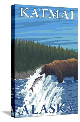 Bear Fishing in River, Katmai, Alaska-Lantern Press-Stretched Canvas Print