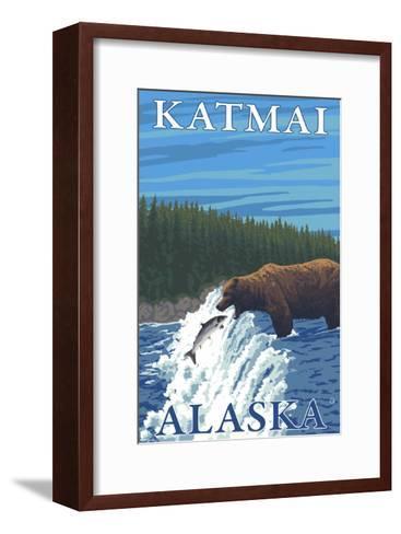 Bear Fishing in River, Katmai, Alaska-Lantern Press-Framed Art Print