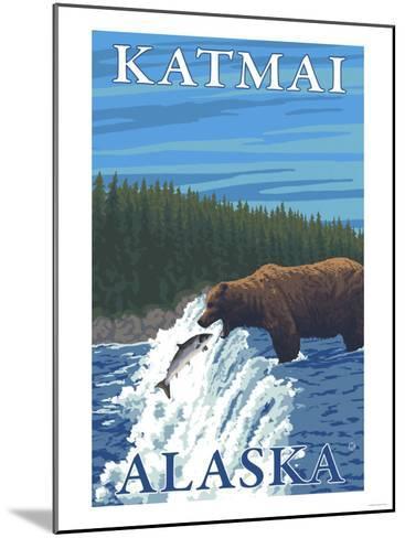 Bear Fishing in River, Katmai, Alaska-Lantern Press-Mounted Art Print