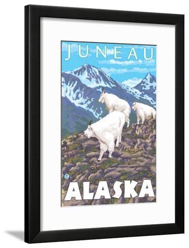 Mountain Goats Scene, Juneau, Alaska-Lantern Press-Framed Art Print