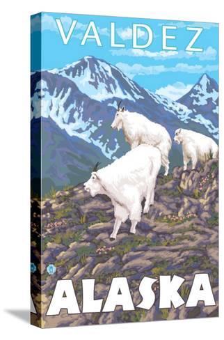 Mountain Goats Scene, Valdez, Alaska-Lantern Press-Stretched Canvas Print