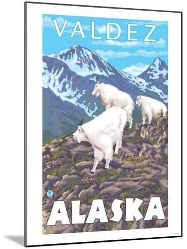 Mountain Goats Scene, Valdez, Alaska-Lantern Press-Mounted Art Print