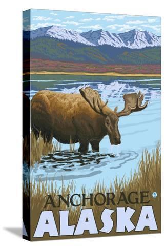 Moose Drinking at Lake, Anchorage, Alaska-Lantern Press-Stretched Canvas Print