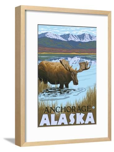 Moose Drinking at Lake, Anchorage, Alaska-Lantern Press-Framed Art Print