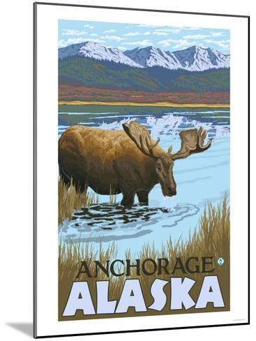 Moose Drinking at Lake, Anchorage, Alaska-Lantern Press-Mounted Art Print