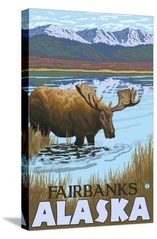 Moose Drinking at Lake, Fairbanks, Alaska-Lantern Press-Stretched Canvas Print