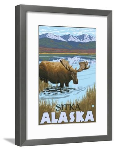 Moose Drinking at Lake, Sitka, Alaska-Lantern Press-Framed Art Print