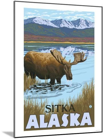 Moose Drinking at Lake, Sitka, Alaska-Lantern Press-Mounted Art Print