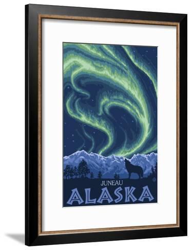 Northern Lights, Juneau, Alaska-Lantern Press-Framed Art Print