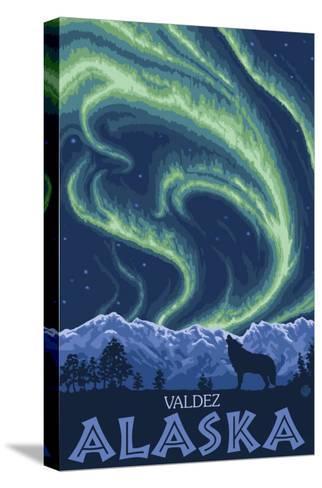 Northern Lights, Valdez, Alaska-Lantern Press-Stretched Canvas Print