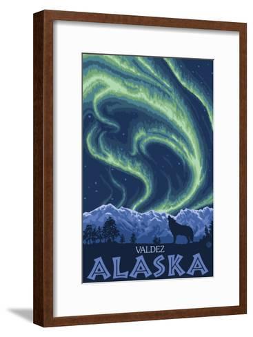 Northern Lights, Valdez, Alaska-Lantern Press-Framed Art Print